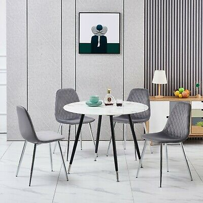 £149 • Buy Marble Effect Round Glass Top Dining Table Set With 4 Modern Grey Velvet Chairs