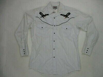 $15.95 • Buy ELY Diamond Mens Western Eagle Embroidered Black Pearl Snap Shirt, Size M