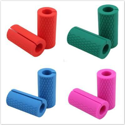 AU23.60 • Buy Barbell Grips Thick Fat Silicone Arm Wrap Bar Dumbbell Grip Home Gym Accessories