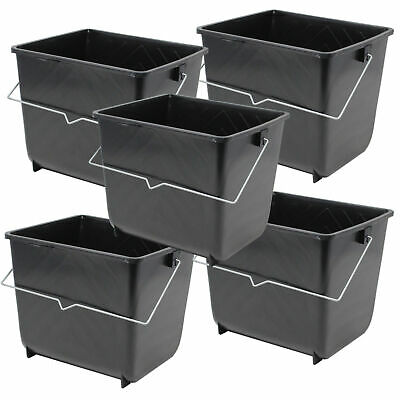 £9.25 • Buy 5 Pcs 5 Litres Black Paint Ribbed Scuttle Metal Handle Rollers Plastic Bucket