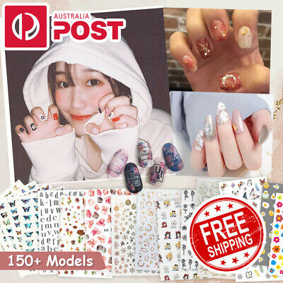 AU3.95 • Buy 100+ Various Nail Stickers Decor Decal Transfer Design Nail Art Accessories