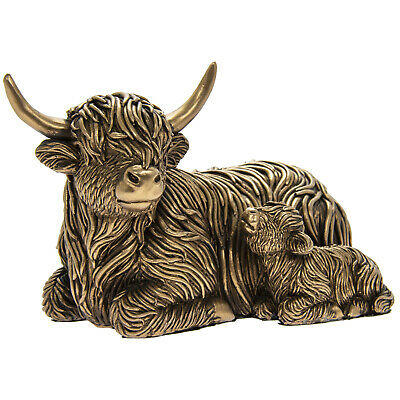 £14.95 • Buy Reflections Bronzed Highland Cow And Baby Sitting Decorative Art Ornament