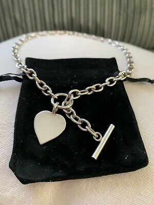 £44.95 • Buy Sliver 925 Chunky Chain With Heart & T-bar Clasp