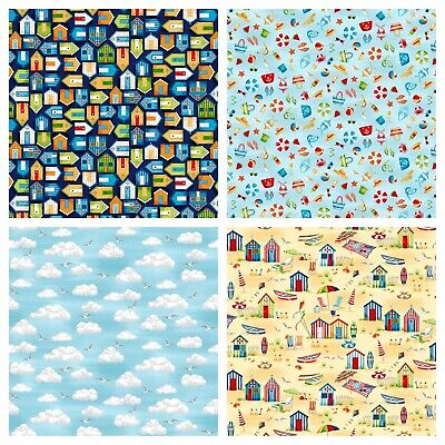 £9.99 • Buy Makower Beside The Sea Harbour, Beach Huts & Seaside 100% Cotton Quilting Fabric