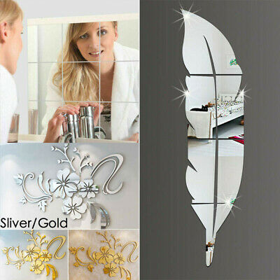 £4.59 • Buy Feather Mirror Tiles Wall Stickers Self Adhesive Decor Stick On Art Home Decal