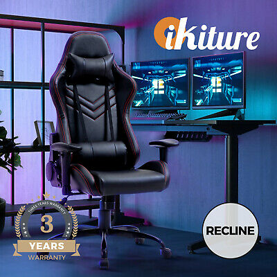 AU149 • Buy Oikiture Gaming Office Chair Executive Desk Chairs Racing Recliner Seat Black