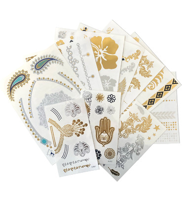 £1.99 • Buy Pack Of 10 ReignbeauB Metallic Temporary Tattoo Sheets Silver & Gold Henna