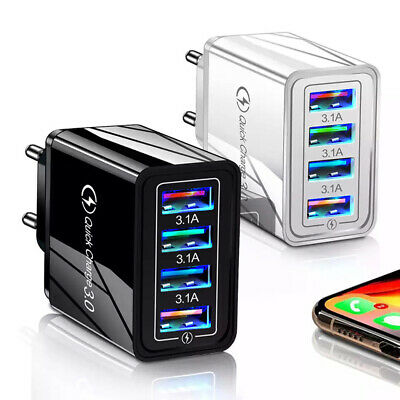 AU13.29 • Buy 4 Port Fast Quick Charge QC 3.0 USB Hub Wall Charger Power Adapter Plug