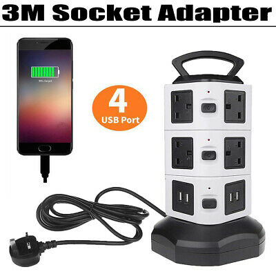 £20.17 • Buy USB Port Tower Electric Mains Power Strip Surge Protector Pull Pop Up Socket UK