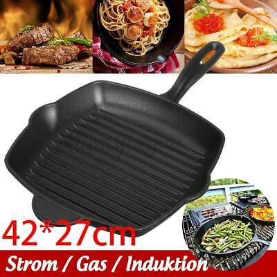 £14.99 • Buy Cast Iron Non Stick Frying Griddle Pan BBQ Steak Cooking Meat Grill Skillet Pan