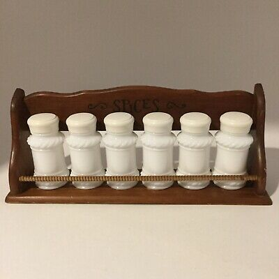 $18.95 • Buy Vintage Mid-Century Set Of 6 Milk Glass Spice Jars With Wooden Spice Rack