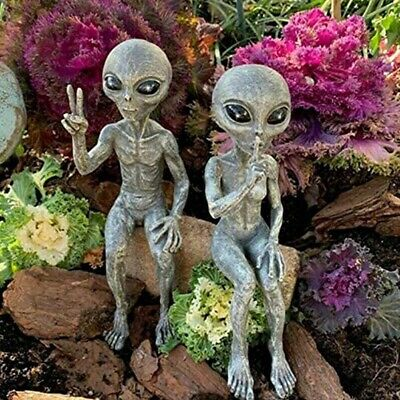 £10.99 • Buy 2 X Garden Outer Space Alien Statue Resin Figurine Ornaments Decoration Gift UK