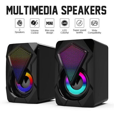 £9.99 • Buy Surround Sound System LED PC Speakers Gaming Bass USB Wired Desktop Computer New