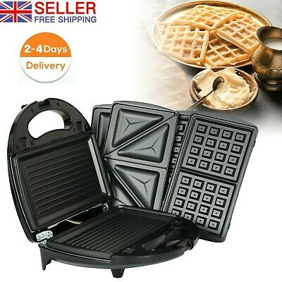 £24.99 • Buy 3 In 1 Multifunctional Waffle Maker Kitchen Panini Sandwich Maker Toaster Grill