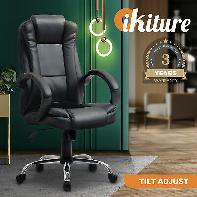 AU109.90 • Buy Oikiture Office Chair Gaming Computer Chairs Executive Seating Home Work Black