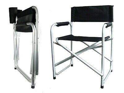 £24.95 • Buy Aluminium Directors Folding Chair With Arms Director Camping Garden Black/Blue