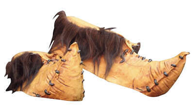 £36 • Buy Halloween Costume - Goblin Shoes - Latex Moccasins With Grey Faux Fur - Brown