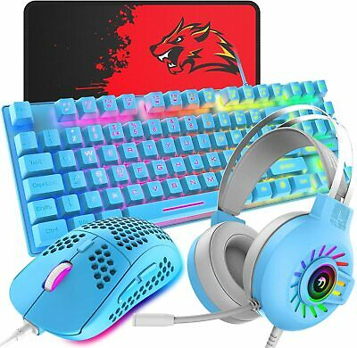 AU75.89 • Buy Gaming Keyboard Mouse 3.5mm Headset And Mouse Pad Combo 88 Keys Rainbow Backlit