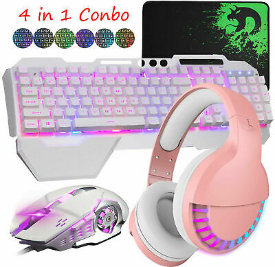 AU75.89 • Buy Gaming Keyboard Mouse Mat And Bluetooth Headset Combo RGB Backlit For PS4 PC Mac