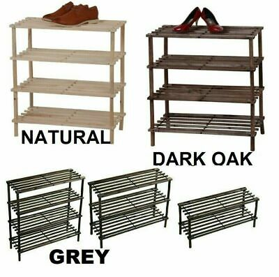 £9.89 • Buy Wooden Shoe Rack Stand Slatted Stand Holder Organizer 2 / 3 / 4 Tier Die Colour