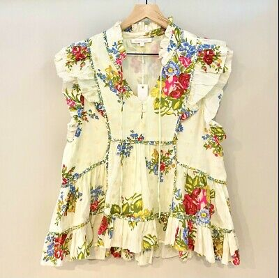 $ CDN113.23 • Buy Love The Label Peasant Blouse Floral Ruffle Mixed Print Anthropologie Size Large