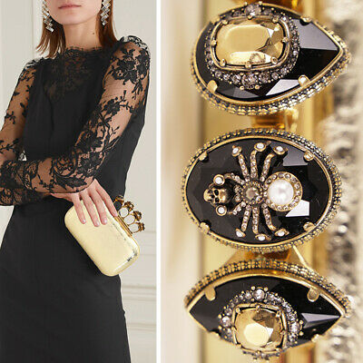 AU2439.02 • Buy NEW $2890 ALEXANDER MCQUEEN Gold Shiny Leather SKULL SPIDER KNUCKLE Clutch BAG