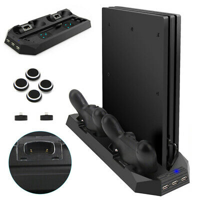 AU25.74 • Buy For PS4 Pro Dual Controller Charger Station Vertical Stand Cooling Fan Holder PP