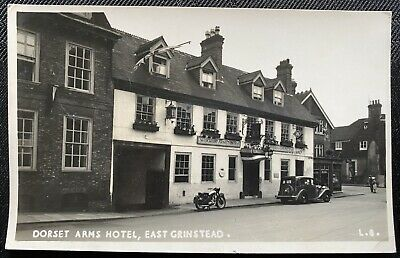 £5 • Buy EAST GRINSTEAD Sussex The Dorset Arms Hotel RP Postcard Posted 1954 Car Bike