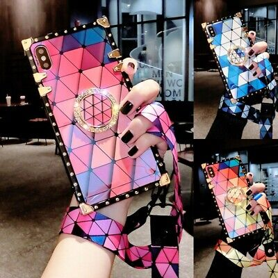 AU14.89 • Buy Cute Bling Checkered Square Case W/ Strap For IPhone 12 11 Pro XS Max XR 6 7 8