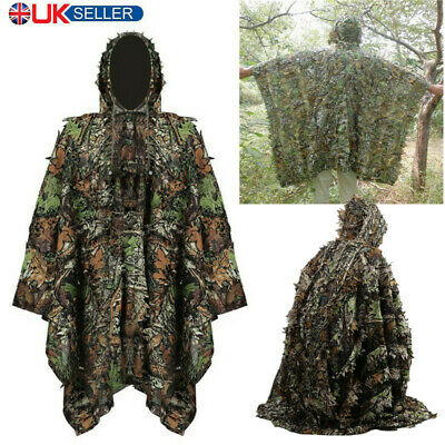 £20.99 • Buy Poncho Adult 3D Gillie Suit Woodland Camouflage Hunting Cloak Tactical Clothes