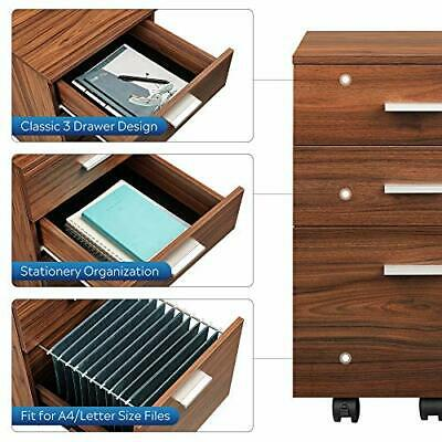 $117.54 • Buy 3 Drawer Wooden Mobile Pedestal File Office Cabinet In Mahogany
