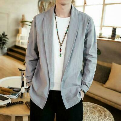 $31.89 • Buy Hanfu Cotton Linen Casual Ethinc Chinese Loose Robes Thin Cardigan Mens Tops New