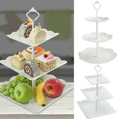 £6.98 • Buy 3 Tier Plastic Cake Stand Afternoon Tea Wedding Party Tableware Dessert Tray