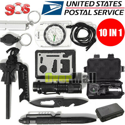 $16.99 • Buy 10 In 1 EDC Outdoor Camping Military Survival Gear Kits Box Emergency Kit Tool