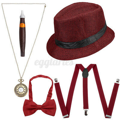 £10.03 • Buy Red 1920S Gatsby Gangster Fancy Dress Mens Costume Capone Godfather Hat