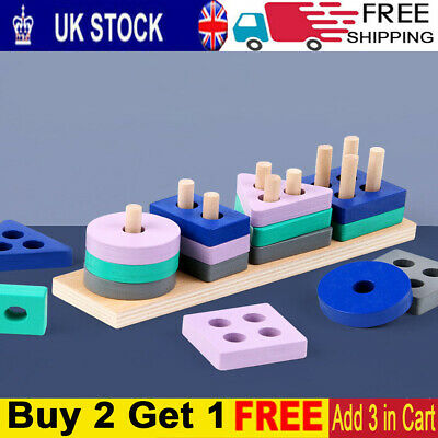 £6.99 • Buy Wooden Toys For 1 2 3 4 5 Years Lead-free Old Boys Girls Toddler Educational Toy