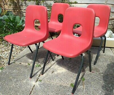 £14.99 • Buy 4 X Red Vintage Hille Plastic Stacking School Chairs