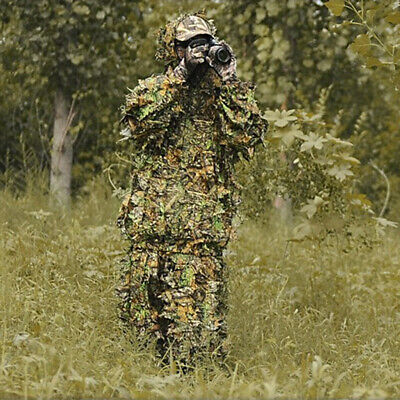 £16.39 • Buy 3D Leaf Camouflage Ghillie Suit Set Clothing Train Hunting Sniper Jungle Forest
