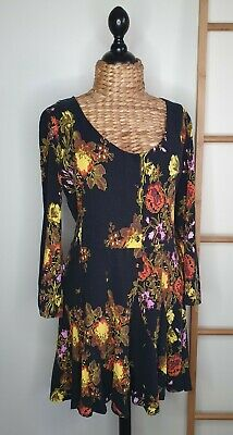 AU49.50 • Buy Tigerlilly Black Floral Button Up Long Sleeve Dress Size 14