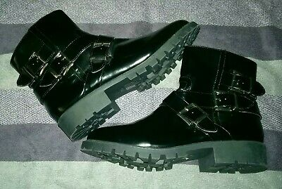 £22.50 • Buy Ladies, London Rebel, Black, Faux Leather, Boots With Buckles Size 7