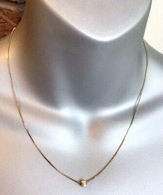 £35 • Buy Beautiful 9ct Yellow Gold 17.5 Inch Box Chain Necklace With Bead Ball 2g VGC