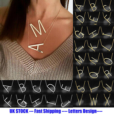 £3.95 • Buy Gold/Silver/Rose Gold A-Z Large Letter Mom Necklace Alphabet Initial Pendant UK