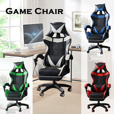 AU119 • Buy Deluxe Gaming Chair Footrest Office Computer Racing Pu Leather