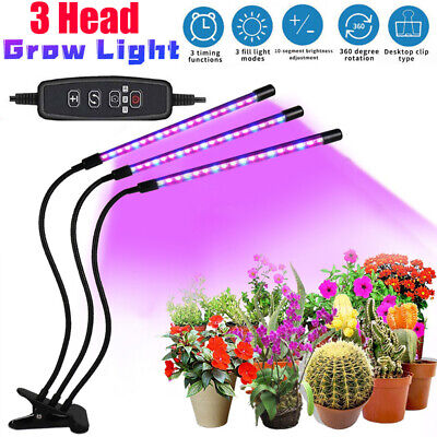 £11.99 • Buy 3 Heads LED Grow Light Plant Growing Lamp Light For Indoor Plants Hydroponics UK