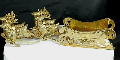 $ CDN29.05 • Buy Vintage Solid Brass Four Harnessed Reindeer And Sleigh Christmas Decoration