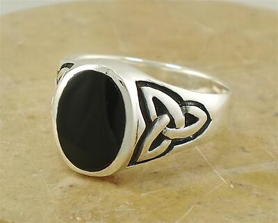 $15 • Buy MENS .925 STERLING SILVER CELTIC ONYX RING Size 11  Style# R1969