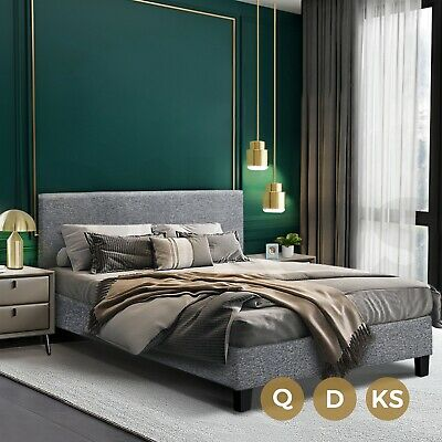AU168.90 • Buy Bed Frame Queen Double King Single Mattress Base Solid Wooden Platform Fabric