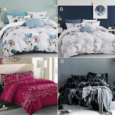 AU35 • Buy Navy Blue Red Floral Quilt Cover Marble Black Doona Cover Set - All Size