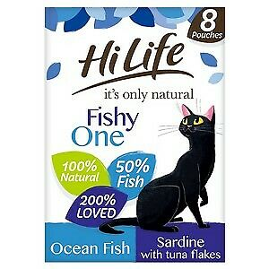 £5.68 • Buy HiLife It's Only Natural The Fishy One In Jelly Adult Cat Food Pouches - 8 X 70g
