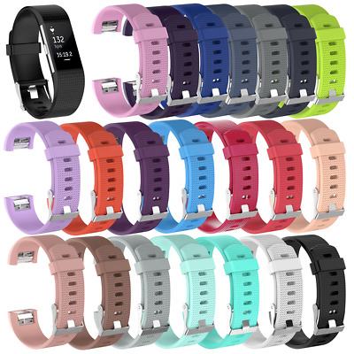 AU7.38 • Buy For Fitbit Charge 2 Strap Silicone Replacement Wristband Metal Buckle Watch Band
